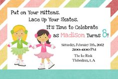 Ice Skating Birthday Invitation by myaclairedesign on Etsy, $12.00