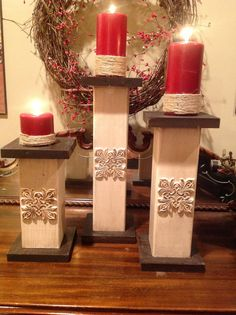 Set of 3 solid wood candle holders by SugarGroveCottage on Etsy, $40.00