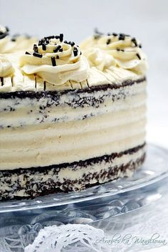 Arabeska : Czekoladowe ciasto z kremem z serka mascarpone Cake Creations, Food Pictures, Cookie Recipes, Panna Cotta, Food Porn, Food And Drink, Easy Meals, Sweets, Baking