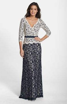 Tadashi Shoji Belted Lace Gown available at #Nordstrom
