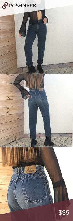 "Vintage Wrangler highwaisted mom jeans In  beautiful dark stone wash. Love this color so much! These are soft and really flattering too! 25""waist, 11""rise,21.5"" hip, 29"" inseam. Photos are from a seller I bought from. I would keep these if they fit me, so sad to let it go 😢 Wrangler Jeans Boyfriend"
