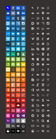 #COMP1678 Download the complete set https://github.com/danleech/simple-icons/archive/master.zip Download individual files from the GitHub repository https://github.com/danleech/simple-icons Preview the icons and get colour info at simpleicons.org