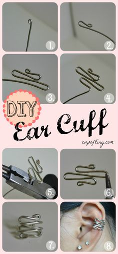 DIY: How To Make a Wire Ear Cuff - easy to make and you don't need to have pierced ears to wear them. These would be great to make for gifts!