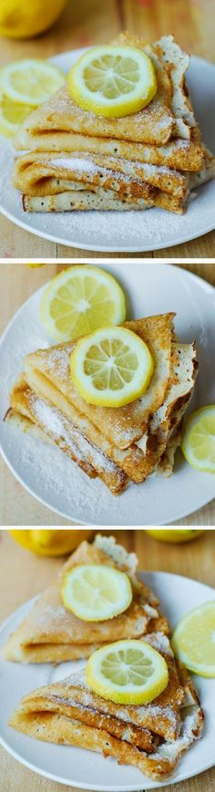 Lemon Sugar Dessert Crepes - these French-style crepes are made from scratch and then sprinkled with freshly squeezed lemon juice and some sugar! I love crepes and often eat them plain, 13 Desserts, Delicious Desserts, Yummy Food, French Desserts, Russian Desserts, Delicious Chocolate, Lemon Recipes, Sweet Recipes, Dessert Crepes