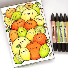 Happy citrus fruit! Playing around with coloured #kawaii doodles this time for this week's #IFDrawAWeek prompt! #kawaiidoodle #IFDrawAWeek11 #drawingoftheday #katehadfieldsketchbook