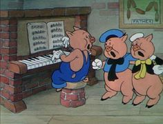 """3 Little pigs. Check out the picture in the back .  Links of Sausage with """"father"""" at the bottom.  Oh my ."""