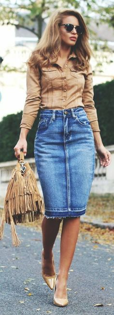 <3 My Love for Denim Skirts is Never Ending <3 50 Catchy Spring Work Outfits Ideas For 2017