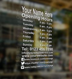 Business Hours Sign, Business Signs, Glass Sticker Design, Glass Signage, Retail Solutions, Salon Signs, Pharmacy Design, Window Signs, Shop Fittings