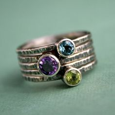 Stackable sterling silver rings.