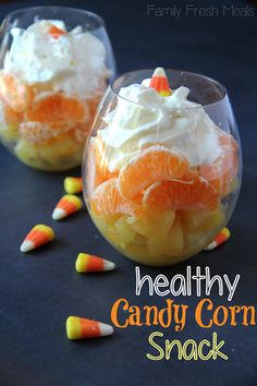 It's all about the presentation! Stack pineapple, orange slices, and whipped cream or yogurt to create a healthier take on candy corn.