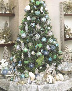 Ocean-inspired Christmas tree ~<>~ (coastal, nautical, beach, seashore, Xmas, theme, decor)