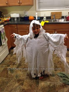 Easy Ghost Costume with a Hood for a Child... This website is the Pinterest of costumes