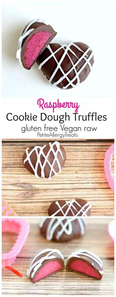 Chocolate Raspberry Cookie Dough Truffles (gluten free Vegan raw) Chocolate covered raspberry flavored cookie dough. A no bake natural red treat.