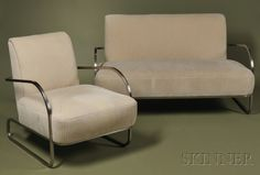 Gilbert Rhode Settee and Armchair  Brushed chromium plated steel and upholstery  Ficks Reed and Co., Cincinnati, Ohio, c. 1935,