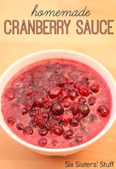 Homemade Cranberry Sauce from SixSistersStuff.com. Easy to make and tastes so fresh and delicious! #recipes #thanksgiving #cranberry