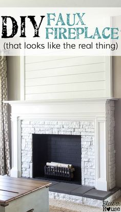 DIY Faux Fireplace Updated – Bless'er House – Home Renovation Fireplace Update, Fake Fireplace, Fireplace Ideas, Farmhouse Fireplace, Fireplace Diy Makeover, Faux Fireplace Insert, Fireplace Fronts, Fireplace Drawing, Cabin Fireplace