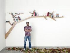 Tree branch bookshelf! Cute idea!
