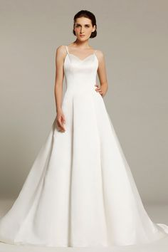 Sheath White Satin Watteau Train V-Neck Wedding Dress