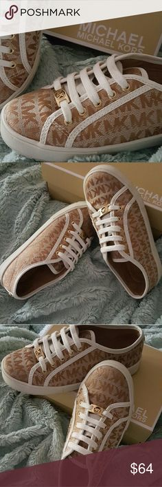 Michael Kors (Camel) monogrammed shoes MK Youth girls average of a 9 or 10 year old girl.  size is youth 1. Like new & in great condition only worn once. Comes with original box. MICHAEL Michael Kors Shoes Sneakers