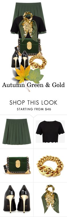 """Fall For Green & Gold"" by shamrockclover ❤ liked on Polyvore featuring Ted Baker, Prada, Chanel, Tom Ford, Hermès and Trans-Ocean"