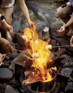Toasting marshmallows over a fire