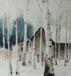 watercolor winter barn