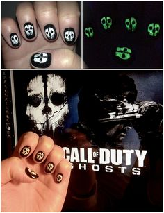 Call Of Duty Ghosts Nails!  (They glow in the dark too!)