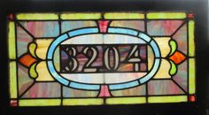 ~ ANTIQUE AMERICAN STAINED GLASS TRANSOM WINDOW ~ ADDRESS 3204 ~ SALVAGE ~