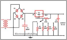 Circuit Diagram of Variable Voltage Power Supply From Fixed Voltage Regulator. For more information, visit http://www.electronicshub.org/variable-voltage-power-supply-from-fixed-voltage-regulator/