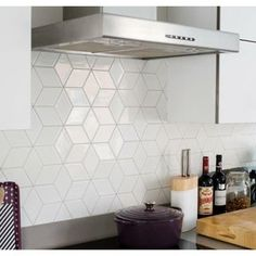 Shop for Paris Rhombus Glazed Porcelain Mosaic Tile Glossy White. Get free delivery On EVERYTHING* Overstock - Your Online Home Improvement Shop! Get in rewards with Club O! White Kitchen Backsplash, Kitchen Wall Tiles, Mosaic Backsplash, Kitchen White, Kitchen Interior, Kitchen Decor, Kitchen Ideas, Mosaic Tile Sheets, Cool Kitchens
