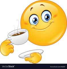 Coffee emoticon vector image on VectorStock Cartoon Mouths, Cartoon Eyes, Cartoon Monsters, Hand Emoji, Smiley Emoji, Funny Emoji, Cute Emoji, Stickers Emojis, Angel Emoticon