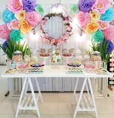 Floral chic dessert table from a Coachella Music & Arts Festival Inspired Birthday Party on Kara's Party Ideas | KarasPartyIdeas.com (6)