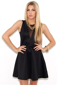 Glamorous Mesh Skater Dress in Black