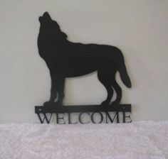 Wolf Welcome Metal Wall Art Silhouette