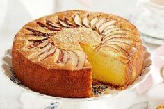 Apple Custard Tea Cake - Spread a pretty cloth on the table and enjoy the best of old-style baking with this classic Apple and vanilla custard tea cake. Apple Cake Recipes, Baking Recipes, Apple Custard, Vanilla Custard, Tea Cakes, Cupcake Cakes, Apple Tea Cake, Apple Cakes, Vanilla Tea