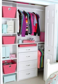 Small reach-in closet organization ideas drawers for closet, small closet redo, closet Kid Closet, Closet Bedroom, Closet Dresser, Closet Drawers, Dresser Shelves, Little Girl Closet, Closet Doors, Girls Closet Organization, Organization Ideas