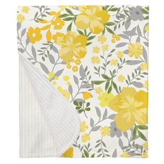 Yellow Floral Tropic Crib Blanket made with care in the USA by Carousel Designs. Yellow Nursery, Floral Nursery, Girl Nursery, Tropical Nursery, Carousel Designs, Yellow Daisies, Crib Blanket, Golden Yellow, Baby Registry