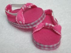 Pink gingham sandals for 18 inch American Girl doll on etsy by dollupmydoll
