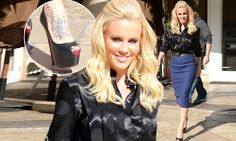 Balancing act! Jenny McCarthy manages to totter around in super high heels.but dresses demurely in black blouse and navy pencil skirt Jenny Mccarthy, Super High Heels, Satin Blouses, Black Blouse, Black Leather, Pencil, Celebrity, Celebs, Navy
