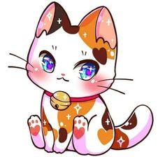 Cute Kawaii Animals, Cute Animal Drawings Kawaii, Cute Little Drawings, Cute Cartoon Drawings, Super Cute Animals, Cute Cartoon Animals, Anime Animals, Cute Anime Cat, Anime Kitten