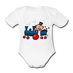Baby Kurzarm-Body.  #train #zug #baby #Spreadshirt #Cardvibes #Tekenaartje #SOLD    #Lokomotive #Lokführer