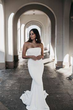 Meet the gorgeous Hazel by Emmy Mae. This minimal stunner will take your breath away. Hazel is made from a luxurious French crepe and hugs all the right places to make you feel like the sexiest girl in the room. Hugs, Minimal, That Look, Meet, French, Bridal, Luxury, Wedding Dresses, Places