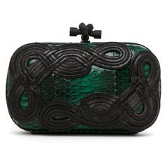 Bottega Veneta Knot Snakeskin Passamaneria Clutch in Green ($2,450) ❤ liked on Polyvore