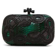 Bottega Veneta Knot Snakeskin Passamaneria Clutch in Green ($2,450) ❤ liked on Polyvore