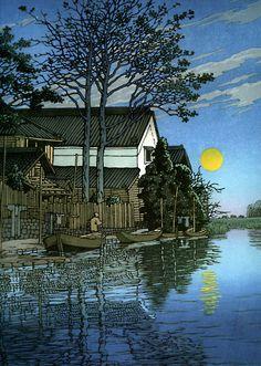 """Evening at Itako"", 1930  Ukiyo-e 浮世絵 from Hasui Kawase 川瀬巴水    More from Gurafiku: http://gurafiku.tumblr.com/tagged/%E5%B7%9D%E7%80%AC%E5%B7%B4%E6%B0%B4"