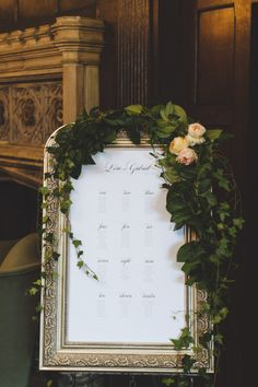 Elegant seating chart: http://www.stylemepretty.com/canada-weddings/ontario/toronto/2014/09/30/garden-inspired-estate-wedding/ | Photography: Mango Studios - http://mangostudios.com/