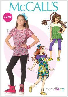 Girls Tops, Dress, Leggings, Head Band McCalls Pattern 7114.