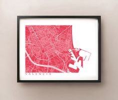 Valencia Map Print  Spain Poster by CartoCreative on Etsy, $20.00