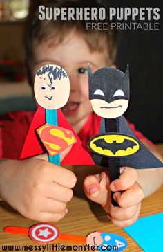 Craft stick superhero puppet activity for kids.  FREE PRINTABLE Batman, Superman, Spiderman, Ironman, Flash, Captain America masks and badges.