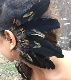 Feather Headpiece, Feather Jewelry, Feather Earrings, Headdress, Rooster Feathers, Black Feathers, Hair Feathers, Hippie Festival, Festival Hair